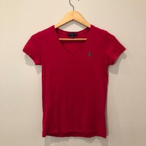 Pink Ralph Lauren V-Neck T-Shirt Top Short Sleeve